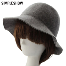 Elegant British Style Soft Wide Brim Pure Wool Felt Bowler Hat Fedora Dome Bucket Hat For Women Floppy Cloche chapeu feminino(China)
