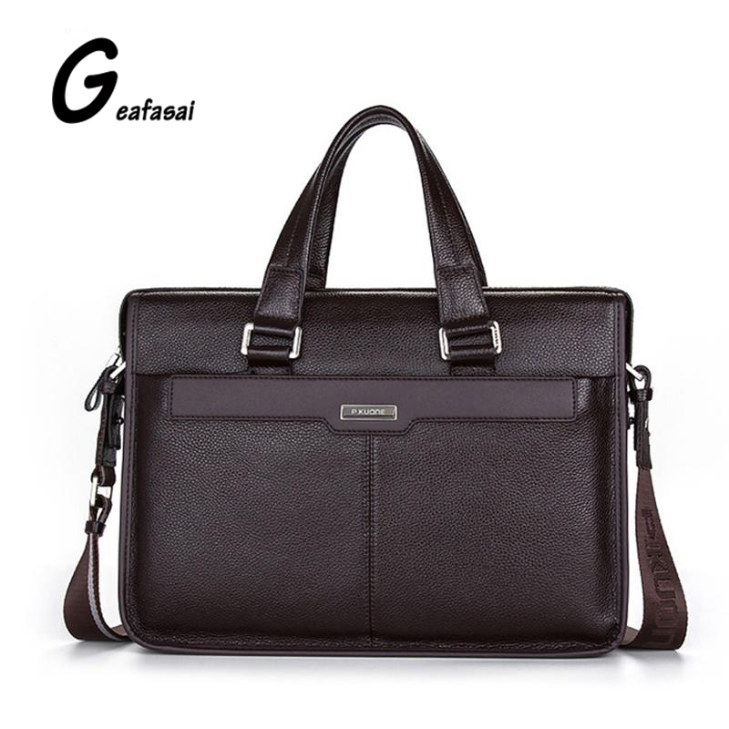 brand P.KUONE genuine cow cowhide leather mens briefcase Shoulder laptop bags handbag for male business style large brown black<br>