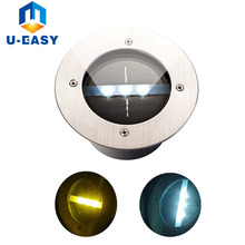U-EASY 3 LED High Brightness Stainless Steel Solar Deck Light for Outdoor Path Patio Yard Driveway / Garden LED Lights(China)