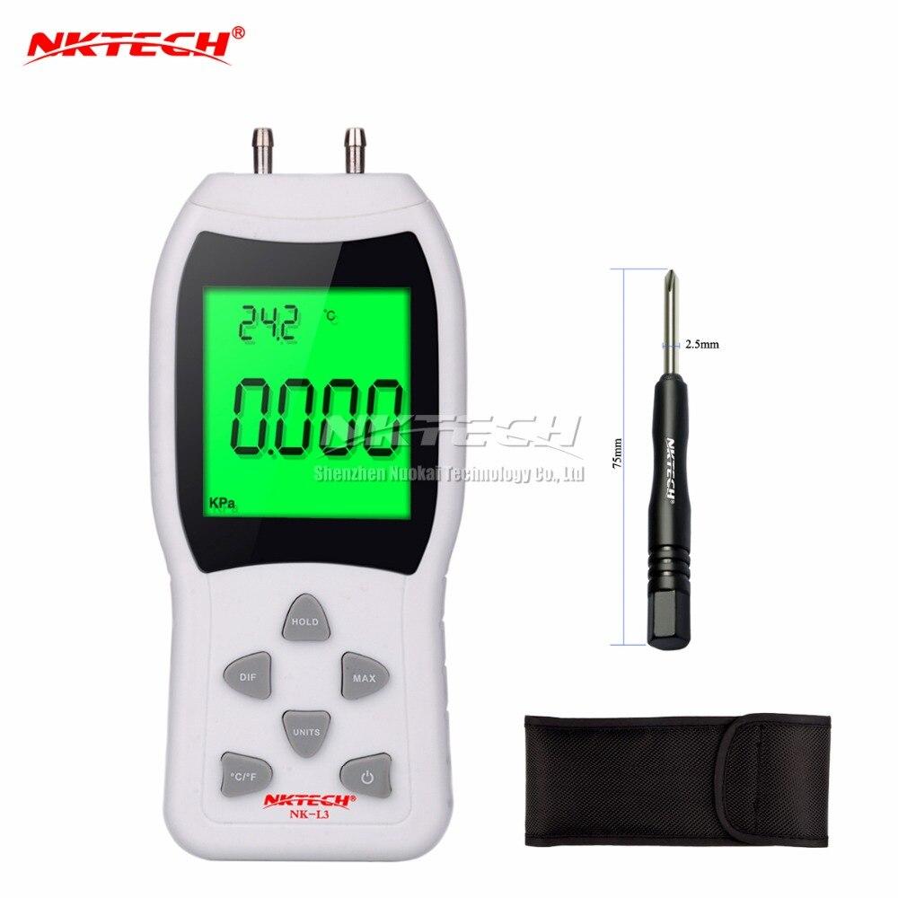 New Professional LCD Digital Manometer Differential Air Pressure Meter Gauge kPa 3Psi Temperature Measuring 12 NKTECH NK-L3<br>
