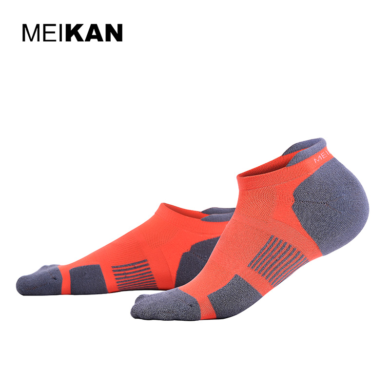 MEIKAN Running Socks Orange Terry Calcetines Ciclismo Meias Coolmax Compression Sport Socks Men Colorful Crew Cycling Socks
