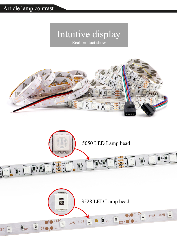 EnwYe 5M 300Leds waterproof RGB Led Strip Light 3528 5050 DC12V 60LedsM Fiexble Light Led Ribbon Tape Home Decoration Lamp_04