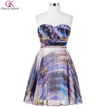 Grace Karin Cocktail Dresses Nebula Pattern Chiffon A line Strapless Wedding Party Robe De Soiree Mini Formal Occasion Dresses