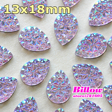 Hot Sale! 13x18mm 100pcs Amethyst AB Sew On Stone Resin Buttons Sewing Beads Two Holes For Clothing B2360