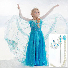 2016 Girls Elsa Gift dress costume Princess Anna party dresses cosplay Summer Baby Kids Fashion Dresses Kitty baby girl clothes