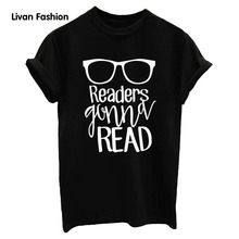 2017 New style Women's Summer Letter Print Readers READSlim Fashion Round Collar Short Sleeve Top black white gray XS HC-TT4612(China)