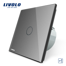 Livolo EU Standard 2 Way Control Wall Switch,AC 220~250V, Grey Crystal Glass Panel, Wall Light Touch Screen Switch, VL-C701S-15(China)