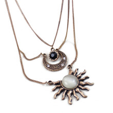 4 Colors Multilayer Chain Sweater Necklace Feather Eye Angle Wings Sun Moon Pendant Boho Long Necklace Gift For Women