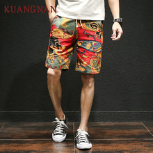 KUANGNAN Japanese Casual Shorts Men Drawstring Printed Streetwear Mens Shorts Summer Men Shorts Cotton Linen Clothes 2018(China)