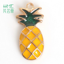 Hot Sale pineapple Enamel Metal Alloy Fruit Charm Pendant,for DIY Earring Bracelet Necklace Jewelry Findings Craft Making