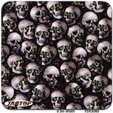 TAOTOP TSKX065 0.5M Width 5Sqm Green Eyes Skull Water Transfer Printing Water Dipping Hydrographic Films
