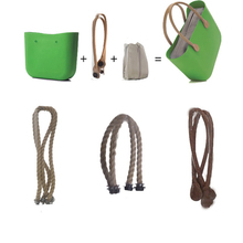 65CM O &O bag with Natural Long Faux Leather Handles & rope handles