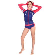 Woman Surfing Rash Guards Wetsuit Suit Long Sleeve Zip Hoodie and Hot Pants Surfing suits VYS702(China)