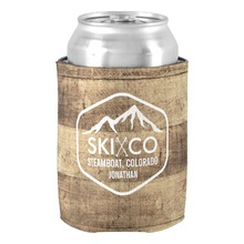 Fantastic Design Rustic Ski Mountain Steamboat CO Wood Beer Can Cooler Wedding Birthday Accessories Beer Holders for Newlyweds(China)