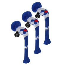 Golf Fairway Woods Club Head Covers, Argyle Pattern, Acrylic Yarn Double-Layers Knitted, with Rotatable Number Tags