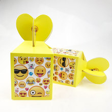 6pcs Emoji Face Candy Bag Kids Birthday Party Decoration Paper Gift Boxes Baby Shower Supplies 8.5x8.5x10cm Party Accessories