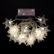 2.1M LED Snowflake Shape String Lights Xmas Party Wedding Garden Decoration Lamp Christmas Light CLH@8(China)