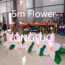 LED lighting giant fabric inflatable flower for wedding decoration(5m)(China)