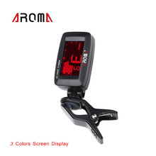 Aroma AT-200D Clip-on Electric Tuner Three Colors Backlit Screen for Guitar Chromatic Bass Ukulele Universal Portable