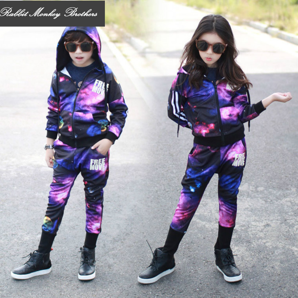 New Spring fall style starry sky young older kids long-sleeved Hooded sweater two-piece set Boys and girls performance clothing<br>