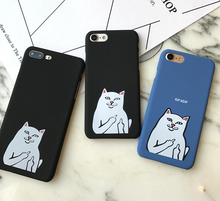 NEW Fashion 3D Cute cartoon Pocket Cat Middle Finger white corna cat Hard PC case For iphone 7/7PLUS/5G/5s/SE/6/6s plus