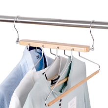 3D Magic Clothes Hanger Stainless Steel Wood Towel Organizer Outdoor Drying Home Space Saving Storage Racks With Four Hanger