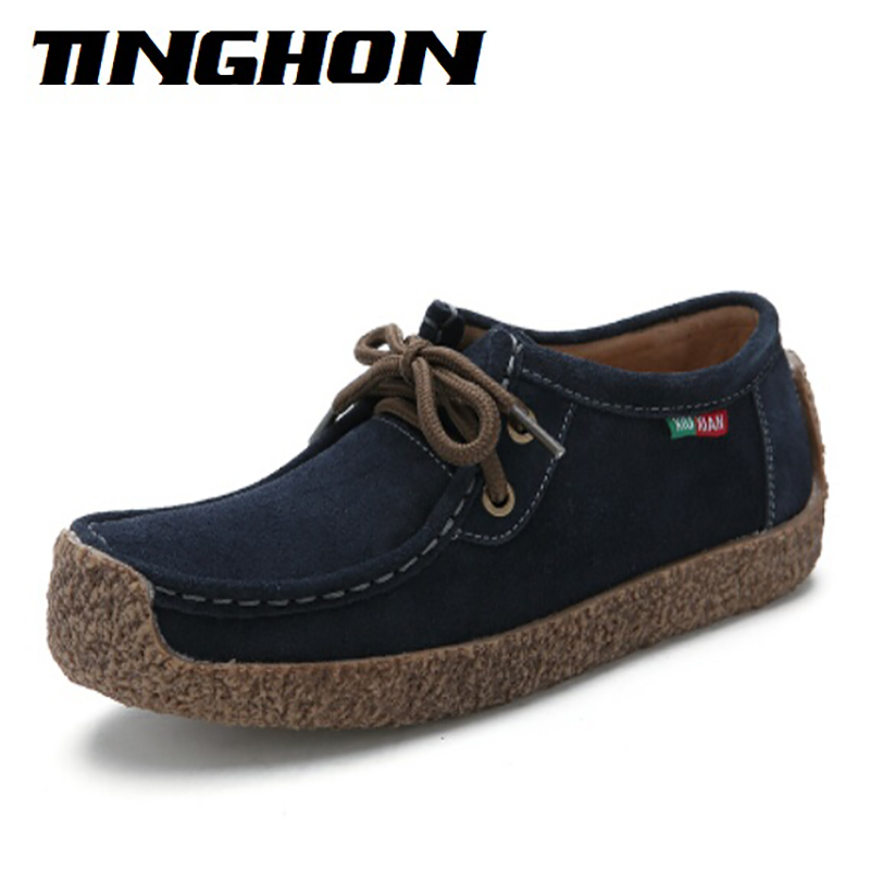 2016 Spring Women Genuine Leather Shoes Woman Hand-sewn Suede Leather Flats Cowhide Flexible Boat Shoes Women Loafer Plus Size<br><br>Aliexpress