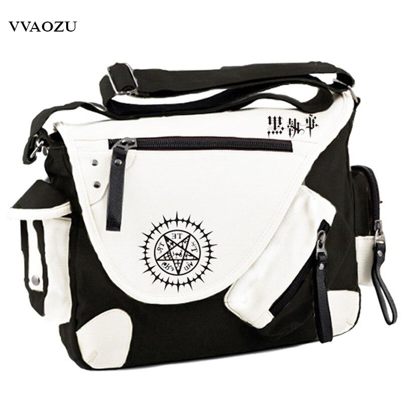 New Fashion Hot Anime Black Butler Kuroshitsuji Cosplay Shoulder Bag PU+Canvas Crossbody Bags Schoolbags Messenger Bag<br>