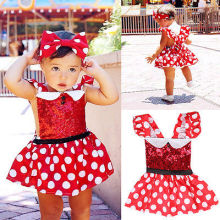 2017 Kids Baby Girls Cute Polka Dot Mickey Minnie Mouse Inspired Party Dress 0-3Y