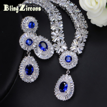 BlingZircons Women Royal Costume Jewellery Blue Cubic Zirconia Bridal Wedding Necklace Earrings Jewelry Sets For Brides JS034