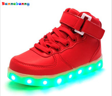 2017 New Kids Boys Girls USB Charger Led Light Shoes High Top Luminous Sneakers casual Lace Up Shoes Unisex Sports for children(China)