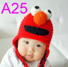free shipping, 30piece/lot Red Sesame Street ELMO Beanie 100% cotton Crocheted baby hats ,children's 100% handmade beanie caps(China)