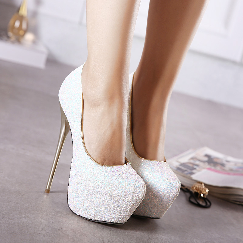 AIYKAZYSDL Fashion Women Pumps Ultra Very High Heel Glitter Bling Bling Wedding Bridesmaid Platform Shoes Stiletto Fetish Shoes 8