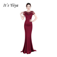 It's YiiYa New O-neck Short Sleeves Beading Trumpet Prom Dresses Sequined Mermaid Floor Length Illusion Luxury Evening Gown X149(China)