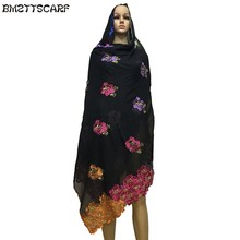 New African Women Winter Scrafs,Rose design muslim embroidery big cotton scarf for shawls wraps pashmina BM415(China)