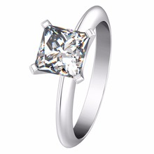 2CT Princess Cut Female Ring Solid 18K White Gold SONA Man made Diamond Au750 White Gold Solitaire Women Brand Quality Ring(China)