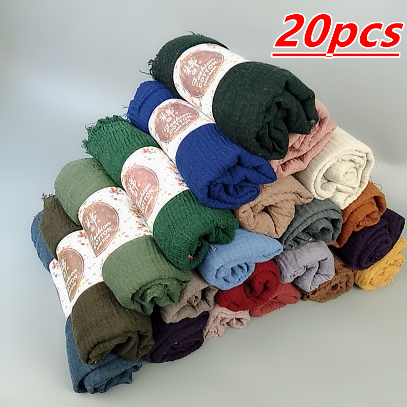 G 7 20pcs 1lot  Hot sale bubble plain  hijab scarf/scarves fringes soft plain hijabs muffler shawls big wrap pashmina