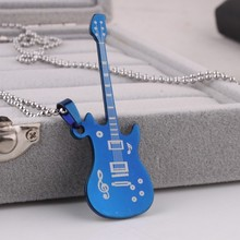 Lovers Blue guitar Musical note pendant necklaces bead chain for men women 316L Stainless Steel necklace wholesale jewelry
