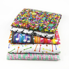 50*145CM fabric Sewing Tools school letting music Polyester&cotton for Tissue Kids Bedding home textile for Sewing Doll,c586(China)