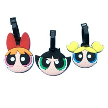 3Style The Powerpuff Girls Lovely Creative Silicone Luggage Tag Pendants Hang Tags Tourist Products Toy Figure 1pc
