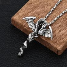Mens Necklaces Stainless Steel Double Dragon Cross Pendant Necklace For Men Vintage Punk Animal Bike Jewelry