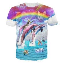Casual 3D Printed T-shirts Rainbow Dolphin Splash With Cats T Shirt Men Bud-Light Vibrant Graphic Tees Summer Tops For Unisex