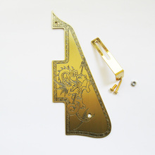 Free shipping hand engraving guitar accesory handmade brass pickguard custom pattern fits LP electric guitars