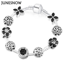 JUNESNOW Sliver Plated Jewelry European Charm Rose Beads European Original Brand Bracelets for Women Gift(China)