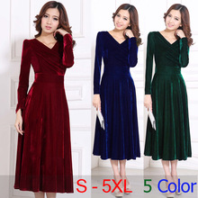 2017 Plus Size S - 5XL 4XL XXXL Women Clothing Winter Maxi Dresses Elegant Velvet Dress Purple Red Blue Green Vintage Warm Dress