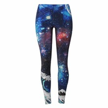 New Sexy Leggings Fitness Women Legging Space Galaxy Printing leggins Pants Female Quick Dry Trousers Blue and red starry(China)