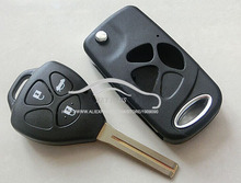 Brand New Car Key Case Fix For Toyota Crown 3 Buttons Modified Flip Folding key shell Blanks(China)