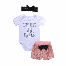 Children's Clothing Set For Baby Girls White Romper Tops+Pink Sequin Shorts+Black Headband Tracksuits Toddler Infant Outfit 3pcs