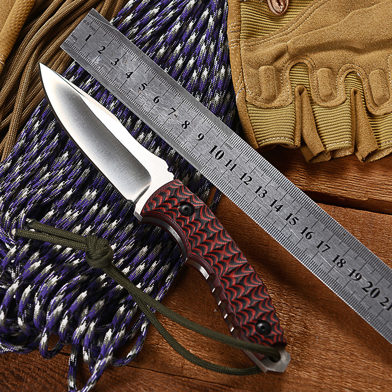 WTT D2 Blade Fixed Straight Knife With G10 Red Handle Outdoor Camping Combat Knife Tactical Hunting Full Tang Knives Tools<br><br>Aliexpress
