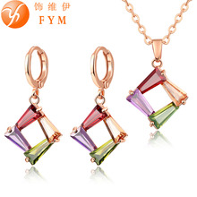 Beautiful Rose Gold color Necklace Earrings Jewelry Sets Fashion Colorful Crystal Zirconia Wedding Bridal Jewelry set For Women(China)
